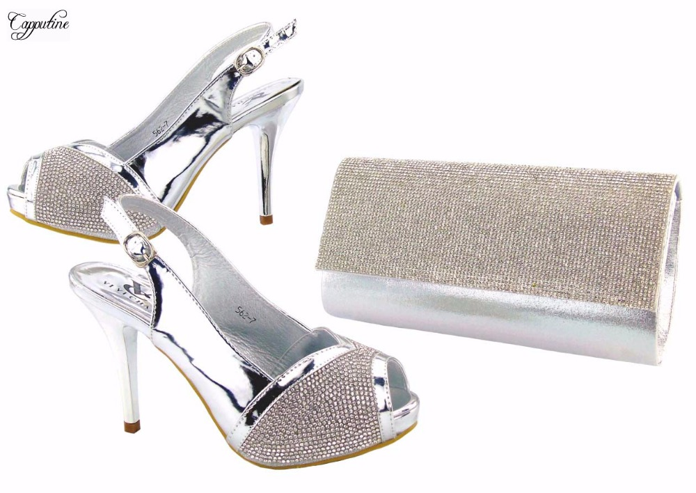 Elegant silver lady thin high heel sandal shoes and purse bag set nice matching for evening dress 562-7 heel height 11cm