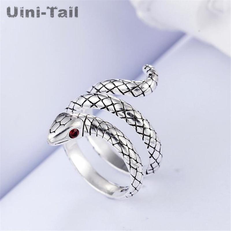 be72719f5e08 Uini-cola caliente nueva plata de ley 925 dinámico retro serpiente anillo  Linda anillo de moda de joyería de alta calidad hombres y las mujeres GN965
