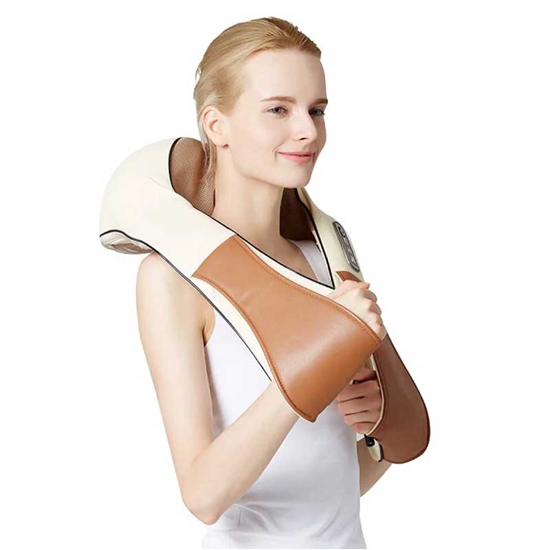 Shape Shawl Electric Heating Massager Back Neck Shoulder Vibrating Shiatsu Roller Massage For Health&Relaxation Care mz hot electric shiatsu reflexology vibrating roller foot massage machine for health care infrared with heating and therapy free
