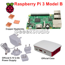 Buy Raspberry Pi 3 Model B with Official 5.1V 2.5A Power Supply + Official ABS Enclosure Case Box Shell + Copper Heatsinks