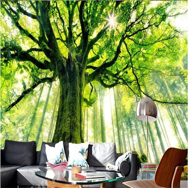 Zeer Beibehang Groene Bomen Bos Zonlicht Boom Schilderen TV Achtergrond &HV03