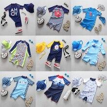 Baby Boy stroje kąpielowe ochrona UV niemowlę dzieci strój kąpielowy dla chłopców Shark dinozaur kotwica z krótkim rękawem jeden sztuk strój kąpielowy dla dzieci