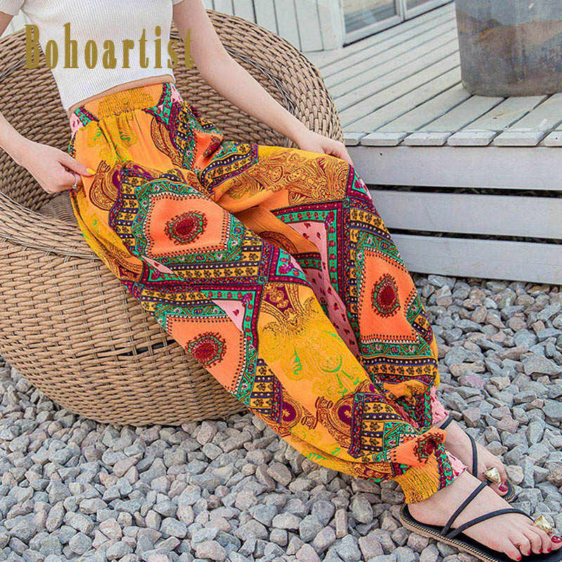 35f6942883 Bohoartist Women Boho Print Beach Pants Elastic Waist Harem Pant Ethnic  Style Fashion Ladies Loose Casual