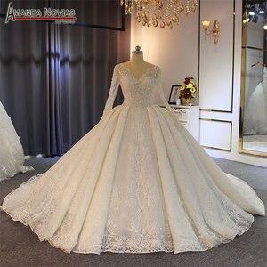 Image 2 - Robe de soiree casamento 2019 beading completo vestido de casamento espumante 100% alta qualidade trabalho real