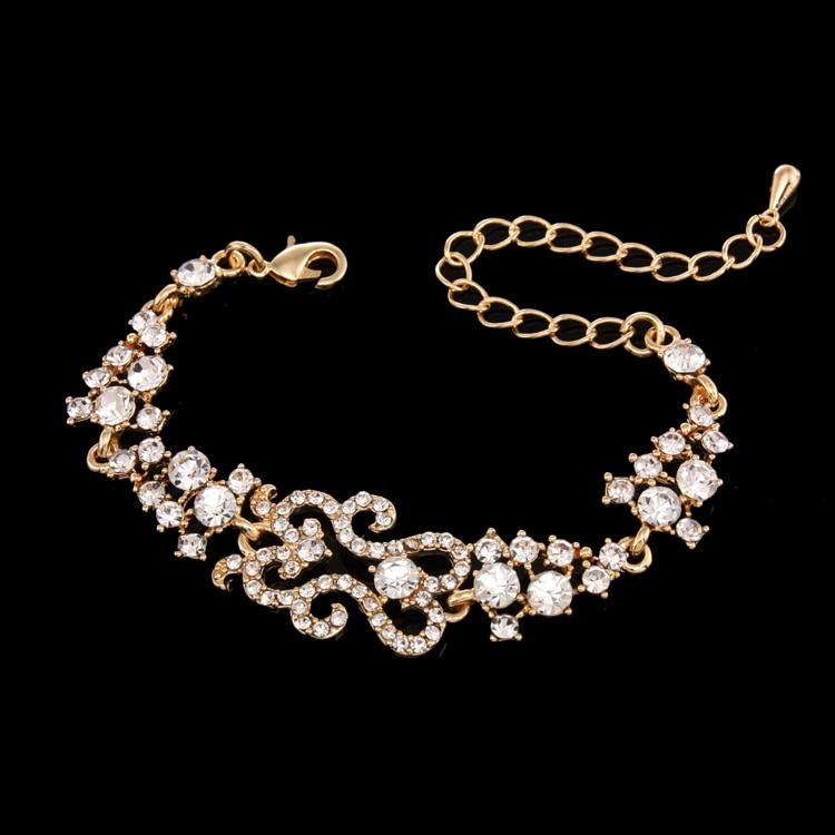 paved rhinestone gold charm bracelet ladies gold bracelet