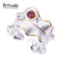 Artilady 925 Sterling Silver Rings Fashion Natural Tourmaline 925 Silver Rings For Women Wedding Party Jewelry