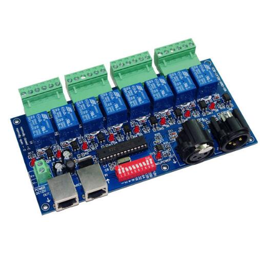 best price 1 pcs 8CH Relay switch dmx512 Controller XLR+RJ45 dmx512 decoderbest price 1 pcs 8CH Relay switch dmx512 Controller XLR+RJ45 dmx512 decoder