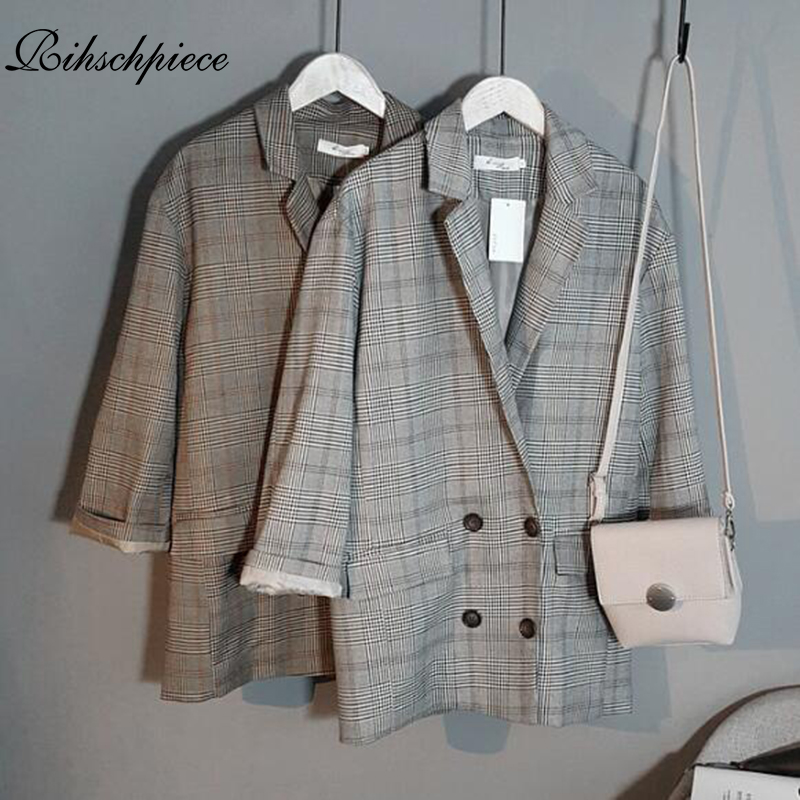 Rihschpiece 2018 Autumn Plaid Long Blazer Women double breasted Blazer Long Sleeve Suit Jacket Female Casual Coat RZF1227