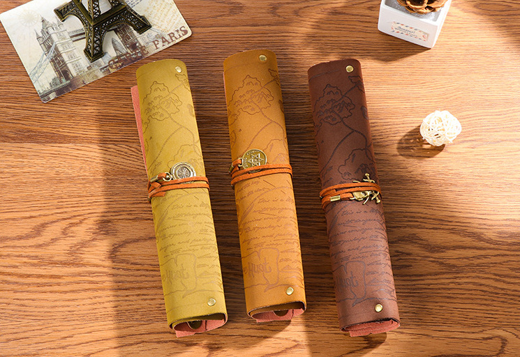 Vintage Pirate Leather Roll Up Pencil Bag Pencil Case Pen Curtain For Student Storage Office School Supplies Korean Stationery