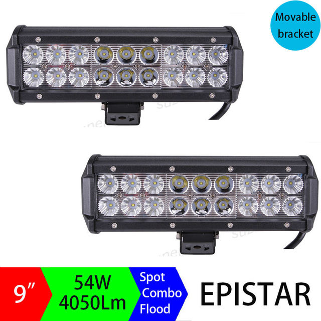 Pair 9inch 54w led light bar off road truck suv 4wd 4x4 driving fog pair 9inch 54w led light bar off road truck suv 4wd 4x4 driving fog work light aloadofball Image collections