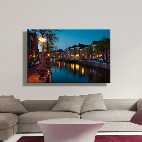 led canvas print of amsterdam city night view picture canvas wall ...