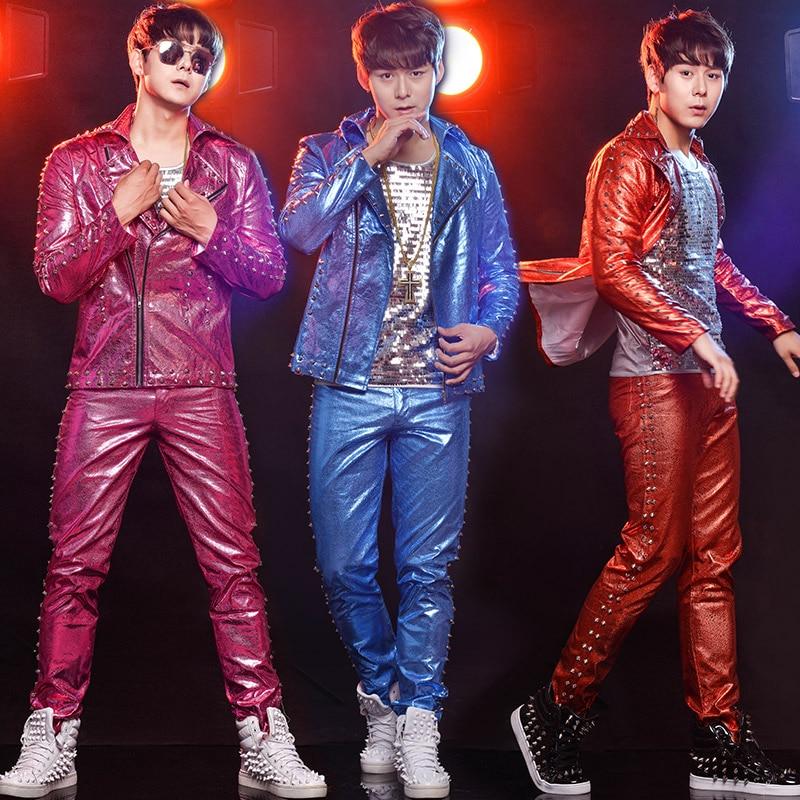 Jazz Stage Costume Hip Hop Men Nightclub Rivet Dancer Outfit DJ DS Singers Gogo Pole Dance