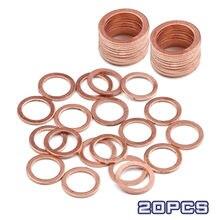20 peças arruelas de cobre sólido anel liso gaxeta cárter plug acessórios de vedação de óleo arruelas fixador ferragem 10x14x1mm mulit-tamanho