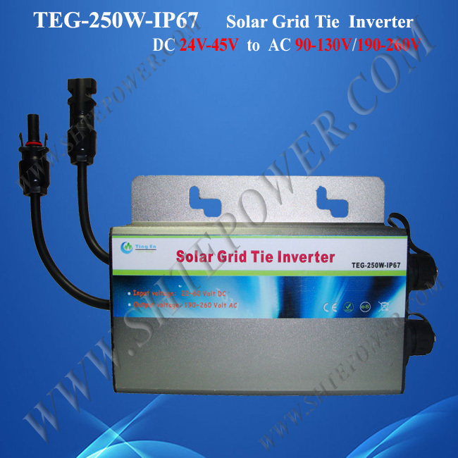 Grid Tie Solar Waterproof Micro Inverter 250W DC 22-50V To AC 110V 120V 220V 230V 240V 22 50v dc to ac110v or 220v waterproof 1200w grid tie mppt micro inverter with wireless communication function for 36v pv system