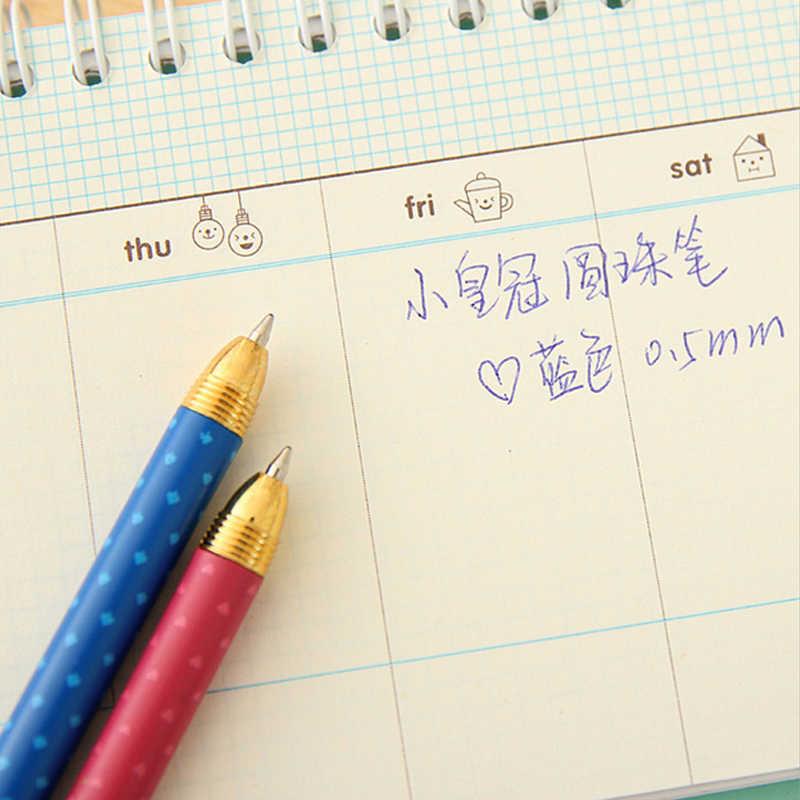 الجدة لطيف تاج قلم حبر جاف جديد الاطفال الطلاب الكتابة مكتب اللوازم المدرسية القرطاسية 0.5 مللي متر الحبر الأزرق Kawaii هدية