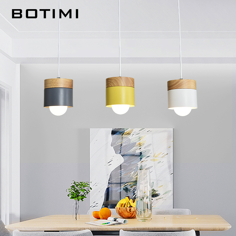 BOTIMI Nordic LED Pendant Lights For Dining Room Adjustable Hanging Lamp With Metal Lampshade Modern Triple Pendant Lamps BOTIMI Nordic LED Pendant Lights For Dining Room Adjustable Hanging Lamp With Metal Lampshade Modern Triple Pendant Lamps
