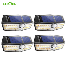 4 Pack LITOM 30 LED Solar Wall Light Lamp Outdoor Motion Sensor Waterproof Wide Angle Super Bright Lampe Solaire Exterieur