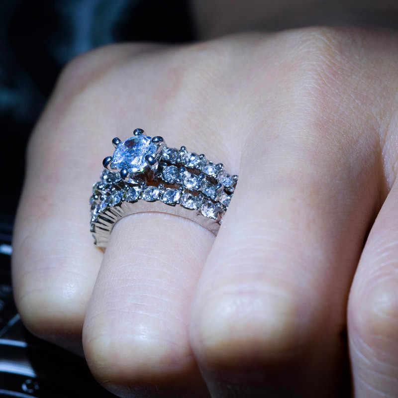 女性ラウンドジルコンウェディングリングセットファッションシルバーカラークリスタルホワイトブライダルジュエリー約束愛の婚約指輪女性のための
