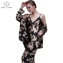 2016 New Fashion Summer Robe Pants Sets Of Sleep Tops 3 Piece Dragon Print Night Shirt Of Pajama Indoor clothing Home TZ013