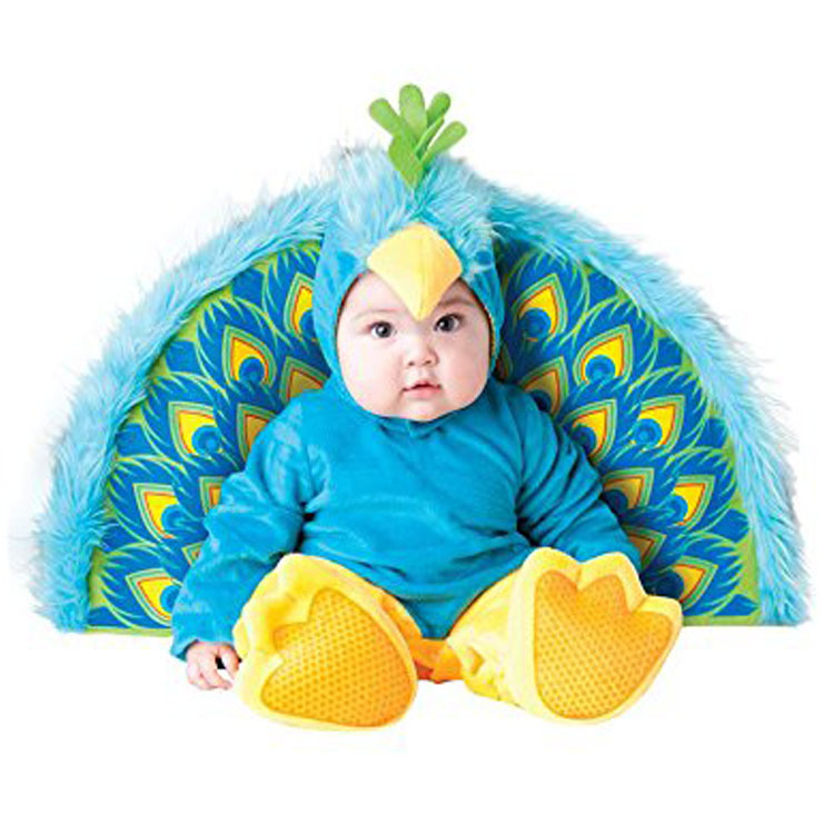 New Animal High Quality Baby Boys Girls Halloween peacock Costume Romper Kids performing hats and shoes Clothing Set Toddler цена