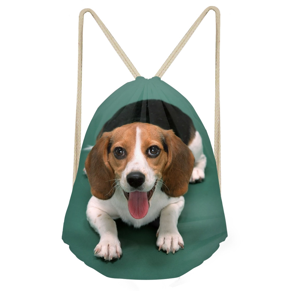 Kawaii 3D Dog Beagle Printing Women Men Drawstrings Bags Softback Travel Storage Backpacks Multifunction Beach BagsSumka