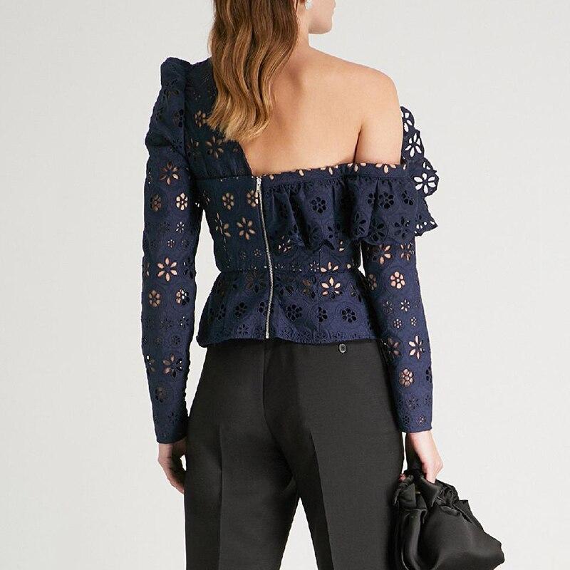 Haute qualité dentelle Blouse 2019 printemps été Sexy fête chemise femmes à volants col Vintage bouton Flare manches dentelle chemise Blusas - 2