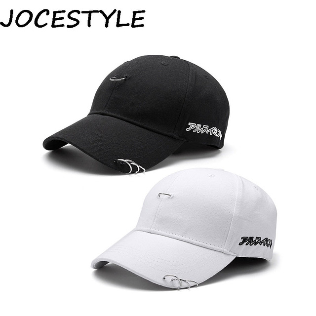 0f0d5dc7595ad Summer Autumn Baseball Cap Icon Unisex Solid Ring Safety Pin Curved Hats  Men s Casual Snapback Hip Hop Caps Japanese Letters