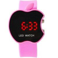Women LED Lady Watches Fashion Apple Shaped Supply Colorful Silicone Geneva WristWatch Horloges Feminine Noble Lady