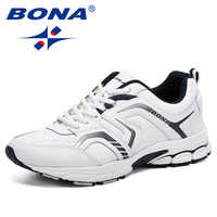 BONA Breathable Sneakers Men Casual Shoes Chaussure Homme Trendy Sneakers Men Flats Lace-Up Zapatillas Mujer Zapatos De Hombre