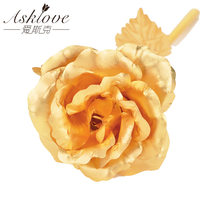 Asklove Valentijnsdag Cadeau Real 24K Gold Foil Rose Plated Gold Rose Kunstmatige Bloem Bruiloft Decor Minnaar Geschenken drop Shipping(China)