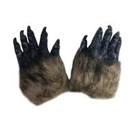 1pair 22 14cm Environmental Material Plush Horror Wolf Claw Glove Dress Costumes Cosplay Halloween Carnival Bar