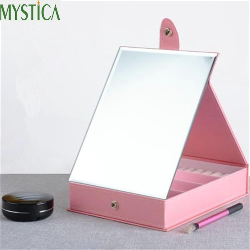 Makeup Mirror Bathroom Bedroom Room Accessories Desktop Decoration High Clear Standing With Cosmetic Storage Box Dresser Mirror