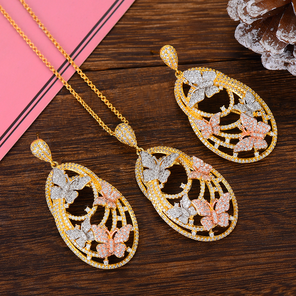 SisCathy AAA Cubic Zirconia Water Drop Pendant Necklace/Earrings Jewelry Sets for Women Wedding Bridal Statement Jewelry SetSisCathy AAA Cubic Zirconia Water Drop Pendant Necklace/Earrings Jewelry Sets for Women Wedding Bridal Statement Jewelry Set