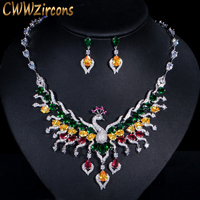 CWWZircons Luxury Multicolored Cubic Zirconia Big Peacock Choker Necklace Wedding Jewellery Set Bridal Costume Jewelry T331