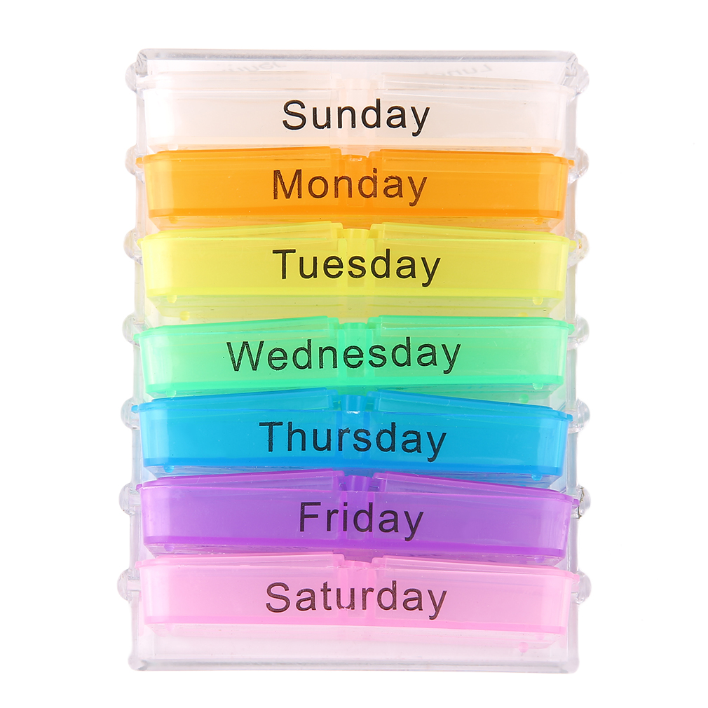 Caixa de plástico medichine 7 dias grande comprimidos caixa titular dispensador de comprimidos casos de pílula divisores forma organizador para atletas idosos