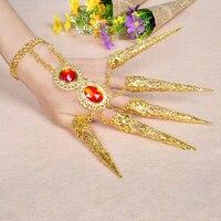 Woman S Polyester Belly Dance Finger Decoration Finger Ring Stage Performance Indian Style Golden Bracelet Hot