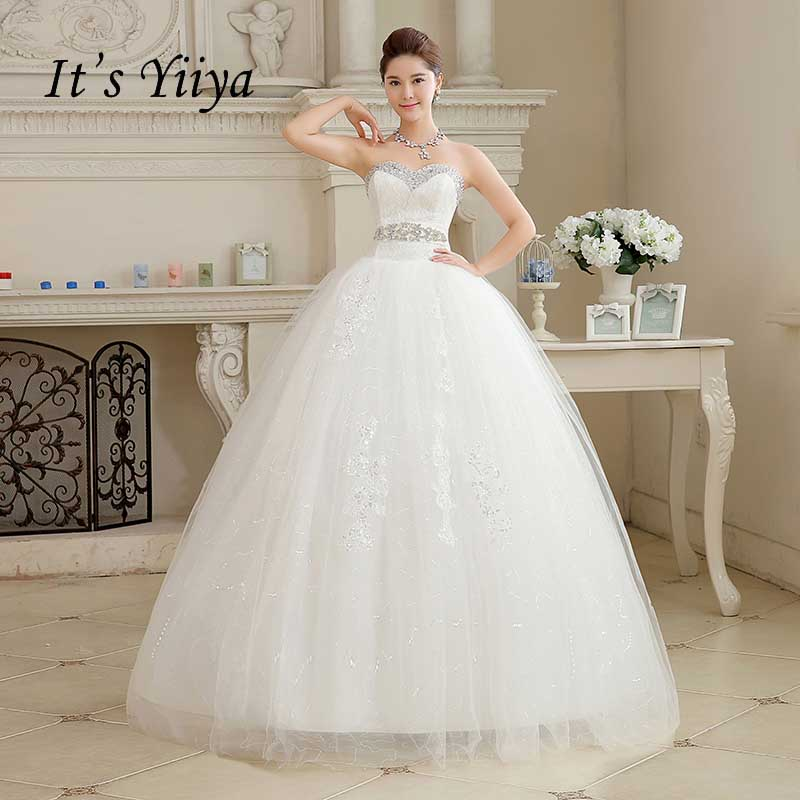 2017 New Arrival Real Photo Plus size Lace Sequins Wedding Dresses Cheap White Strapless Bride Gowns Vestidos De Novia HS107