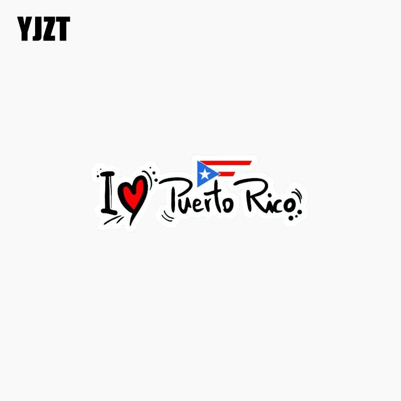 YJZT 13.1CM*4.3CM Car Sticker I Love Puerto Rico Slogan Lnterest Car Window Reflective Decal C1-7776