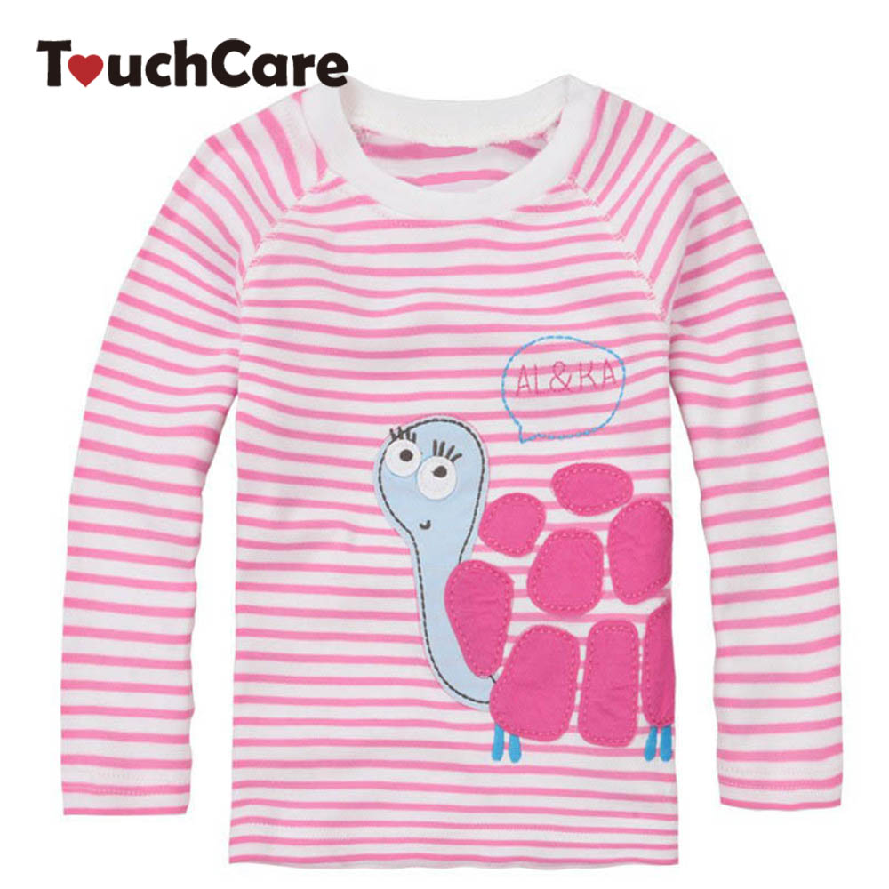 Fall Winter 2015 Cute Baby Girl Long Sleeve Cotton T shirts Pink Stripe Tortoise Children T-shirt Kids Infant Clothing Baby