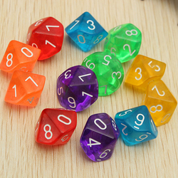 10pcs 10 Transparente Dice Dice Die 10 Face Gem Conjunto Multicolor D10 RPG Dungeons Dragons Jogando Jogos