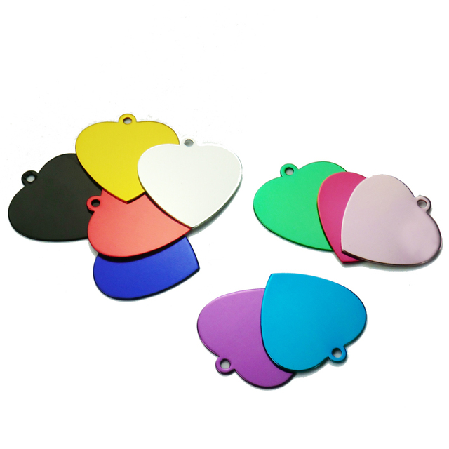 Wholesale 100pcs Love Heart Shape Pet Tags ID Cumstom 2 Sides Engeraved For Dog Cat Name Charm Tag Personalized Dog Cats ID Tags
