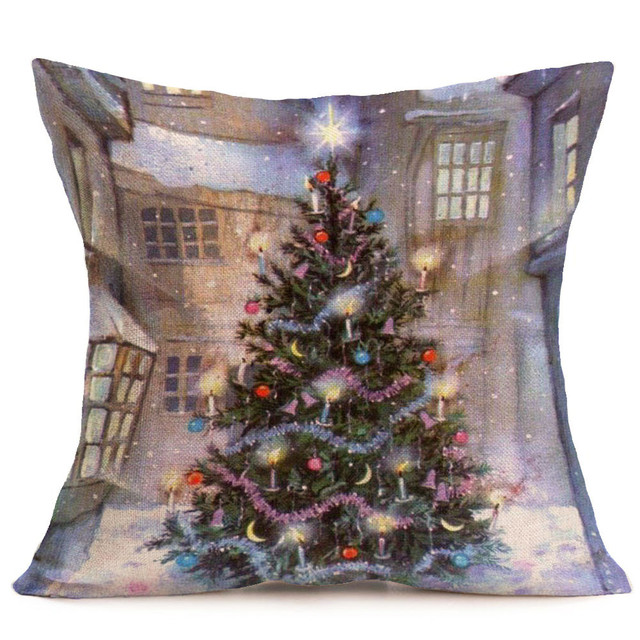 merry christmas pillowcases cotton linen printed decorative pillows for sofa car seat cushion cover throw pillow - Christmas Decorative Pillows
