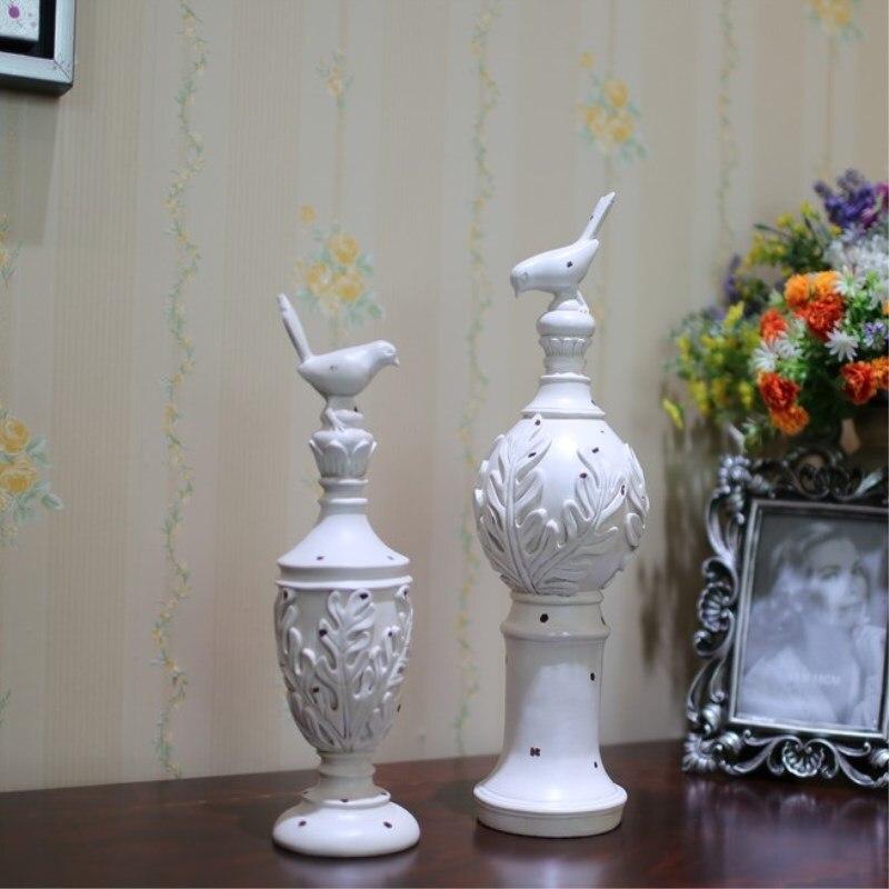 2 pièces/ensemble décoration de la maison Style Village européen oiseau souche créative résine artisanat décorations de bureau décoration de mariage cadeaux
