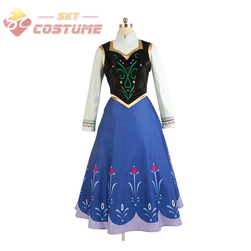 Hot Movie Elsa Princess Anna Dress Costume Without Cloak Halloween Pary For Adult Women Party Cosplay Costume Free Shipping