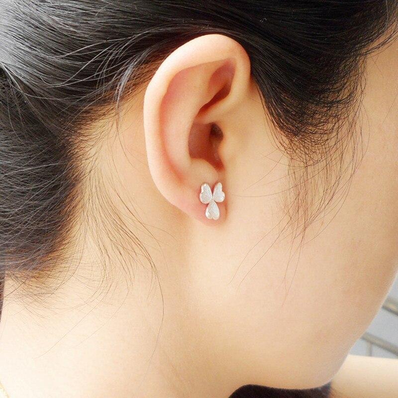 Clover 999 Sterling Silver Earrings For Women Stud Earrings Small Flower Handmade Luxury Jewelry Trendy Ear Studs Korean Fashion in Stud Earrings from Jewelry Accessories