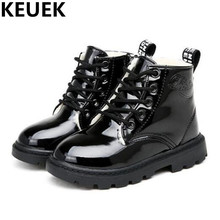 NEW Winter Children Ankle Boots Boys Girls Lace-Up Flat Martin Leather Boots Student Baby plush Snow Boots Kids Shoes 044
