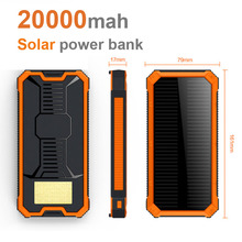 Tragbare Solar Power Bank 20000 MAH bateria externa portatil Dual USB Externe Handy-akku Ladegerät Backup Power