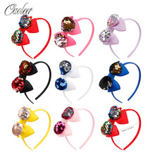 Oaoleer Hair Accessories Hair Bands Headbands for Girls Layers Ribbon Hairband 8 Pcs/Lot 5 Inch Reversible Sequin Bow Hair Band()