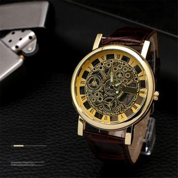 Business Man Watch Luxury Hollow Mens Watch Leather Men Watch Imitate Mechanical Wristwatch Quartz Male Clock Relogio Masculino