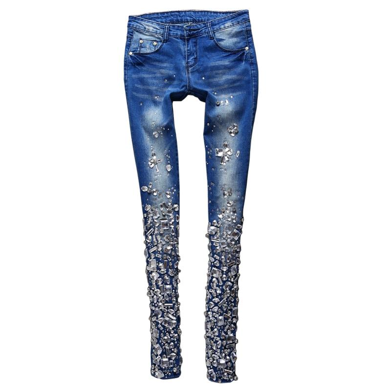 Diamante Cintura Dulce De Mediados Mujer Cordón Pantalones Tamaño Llegada deep Blue Para Vintage Cristal Alta Blue Jeans Calidad Plus Nueva light Moda Blue O86nwx